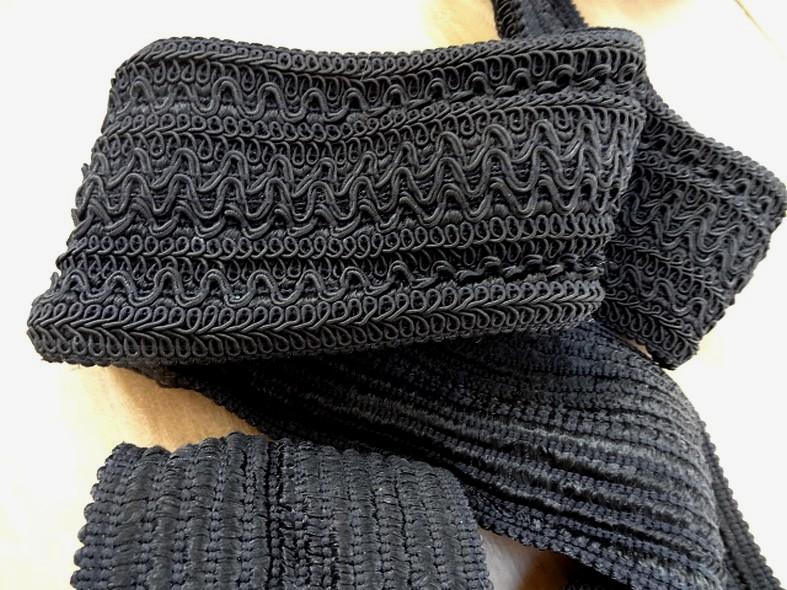 Galon élastique en fils rayonne et viscose noir