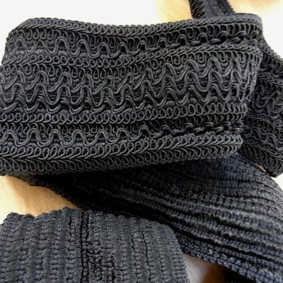 Galon elastique en fils rayonne et viscose noir 1