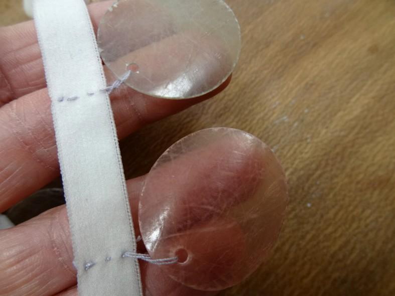 Galon elastique pastilles en nacre pastel vert rose 2