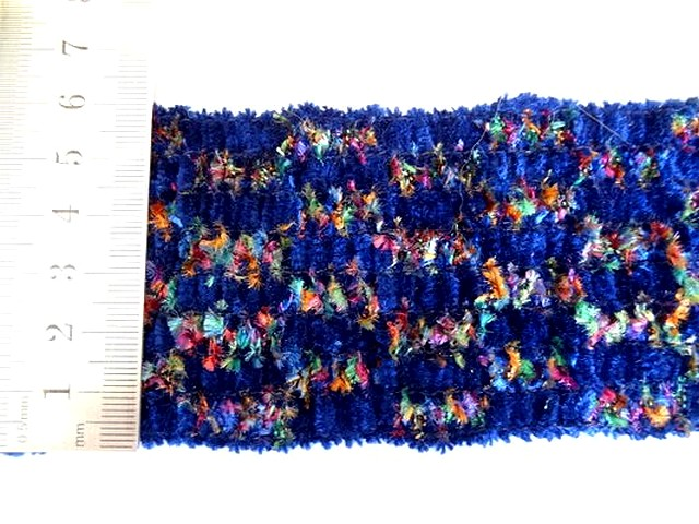 Galon elastique velours chenille bleu tachete 1