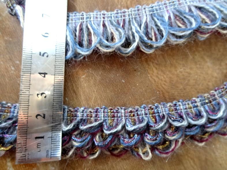 Galon fils de coton boucles prune et bleu 1