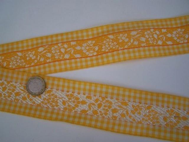 Galon fleuri blanc jaune borde de vichy 1 1