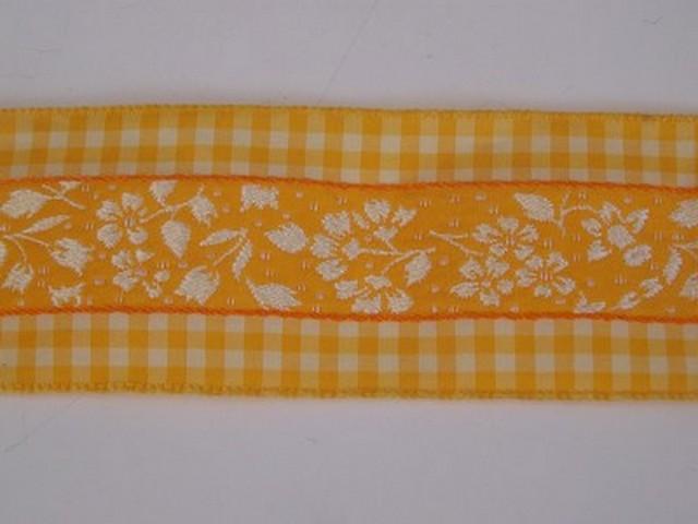 Galon fleuri blanc jaune borde de vichy 2 1