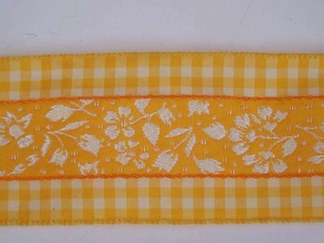 Galon fleuri blanc jaune borde de vichy 3 1