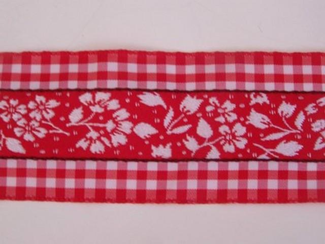 Galon fleuri blanc rouge borde de vichy 1