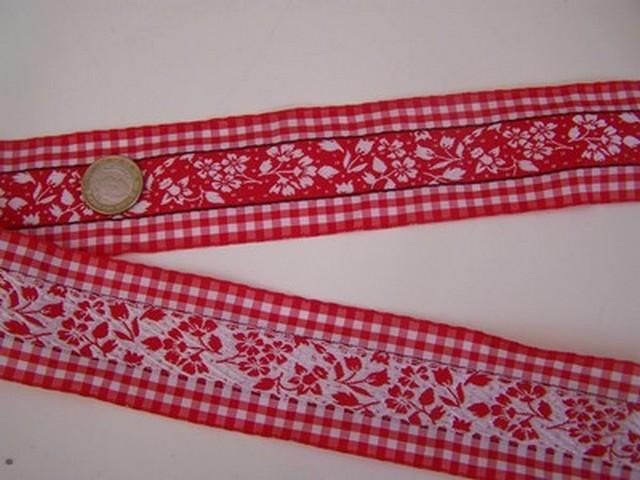 Galon fleuri blanc rouge borde de vichy 3