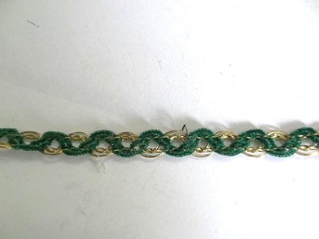 Galon metal or et velours chenille vert mousse 1