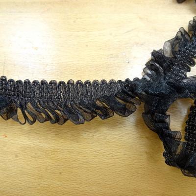 Galon organza noir boucles de rubans fins 1