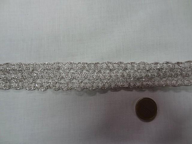 Galon trio chenille blanche et lurex argent 3