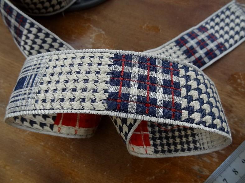 Galon tweed et pied de poule blanc casse bleu marine