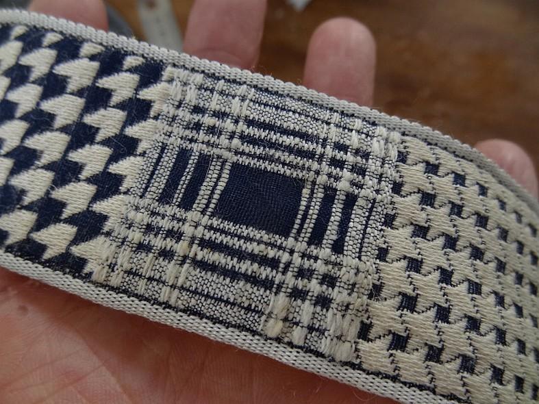 Galon tweed et pied de poule blanc casse bleu marine 2
