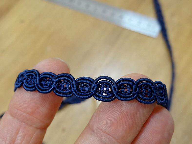 Galon viscose bleu marine maillons de chaine 8 mm 3