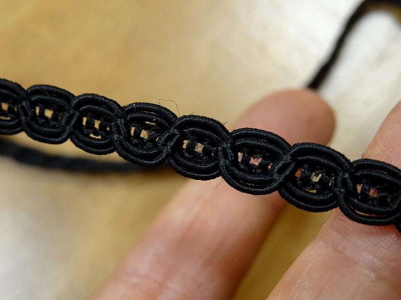 Galon viscose noir maillons de chaine 8 mm 2
