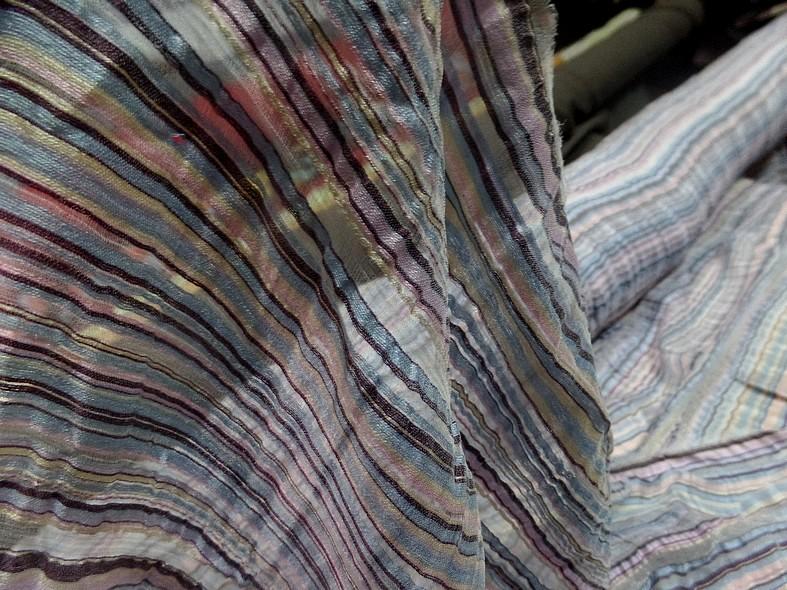 Gaze de soie rayures tissees pastel 2