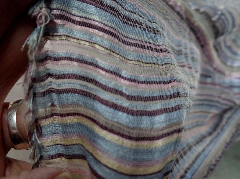 Gaze de soie rayures tissees pastel 3