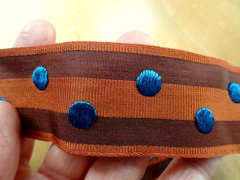Gros grain ou sangle rayures et pois bleus 3