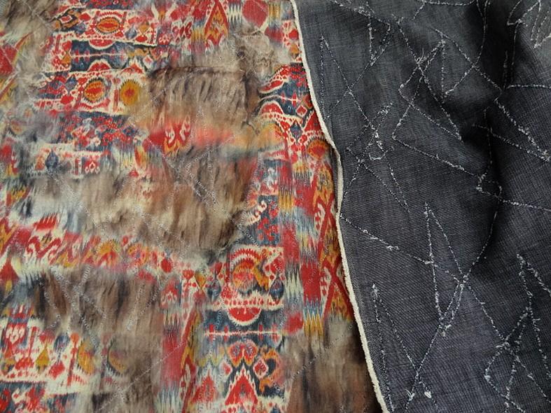 Jean bleu stone motif zigzag reversible tissu gratte motif mexicain fondu 1