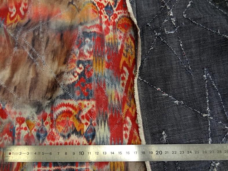 Jean bleu stone motif zigzag reversible tissu gratte motif mexicain fondu 2