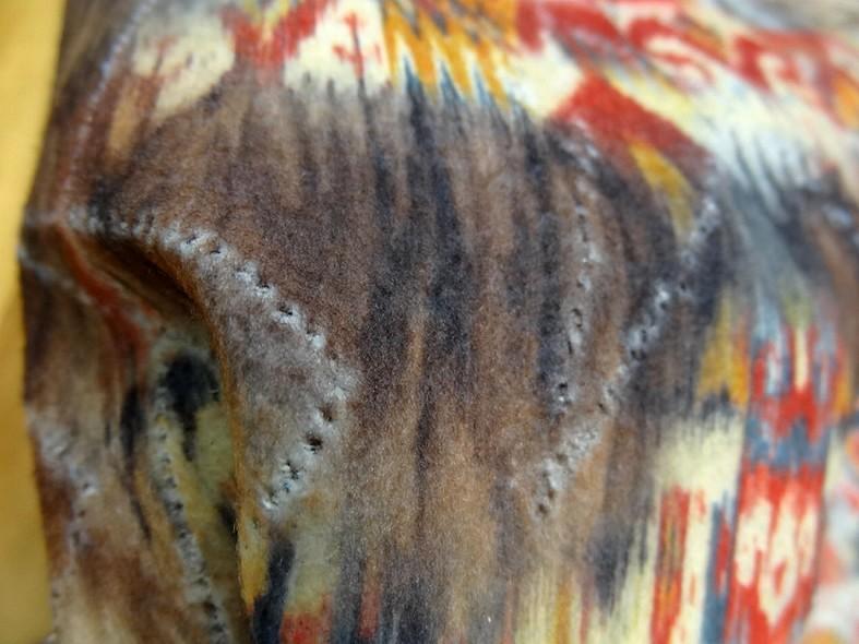 Jean bleu stone motif zigzag reversible tissu gratte motif mexicain fondu 3