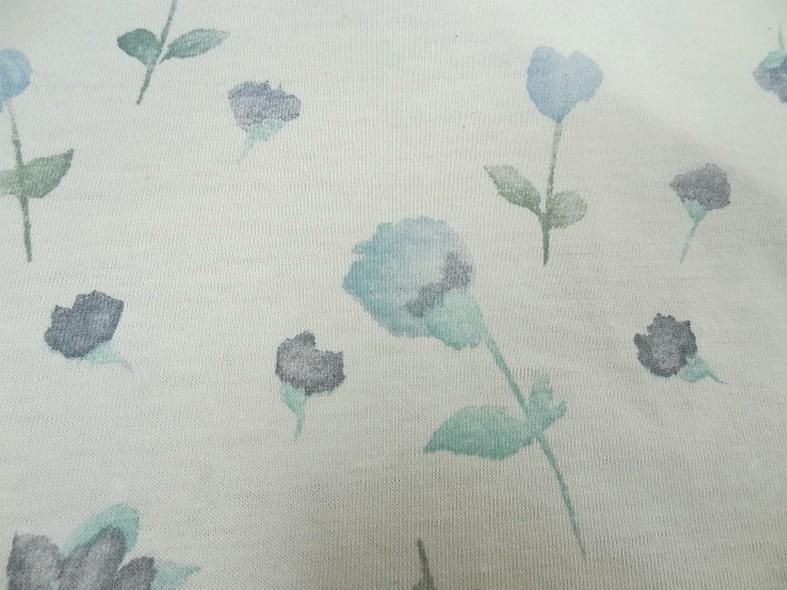 Jersey coton blanc casse fleurs en camaieu de bleus 2 1