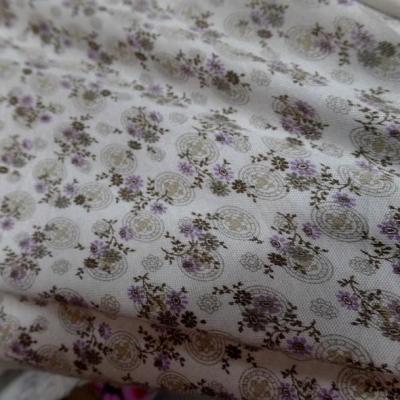 Jersey coton blanc casse petites fleurs lilas 1