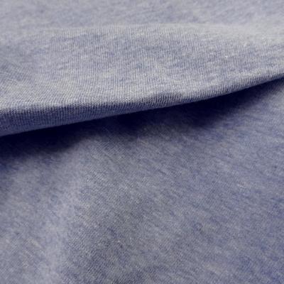 Jersey coton bleu aspect chambray 1
