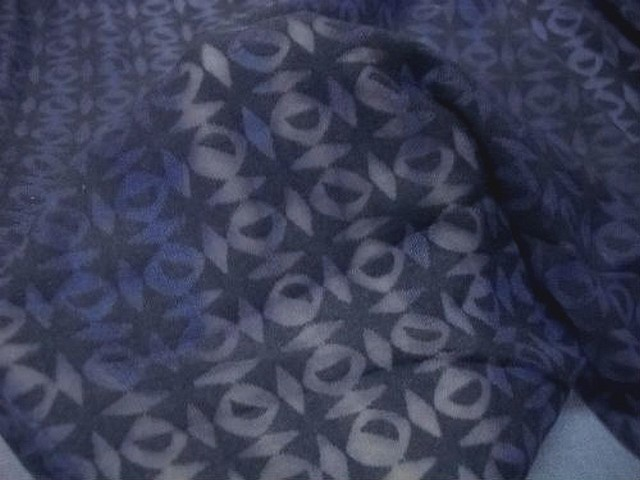 Jersey coton bleu marine devore carreaux effet d optique 1