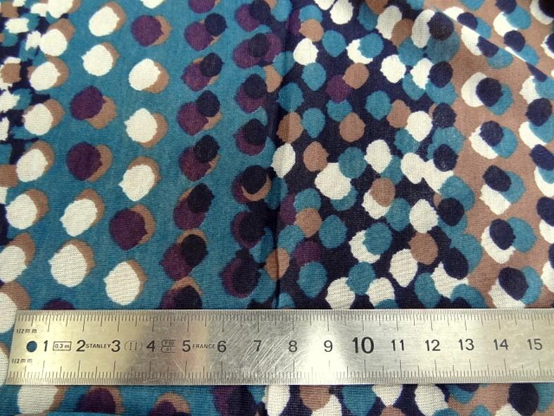 Jersey coton fin bleu canard prune a pois 2