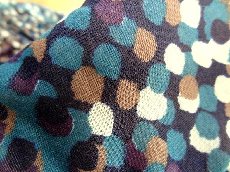 Jersey coton fin bleu canard prune a pois 3
