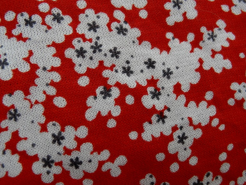 Jersey coton fin rouge fleurs blanc gris 1