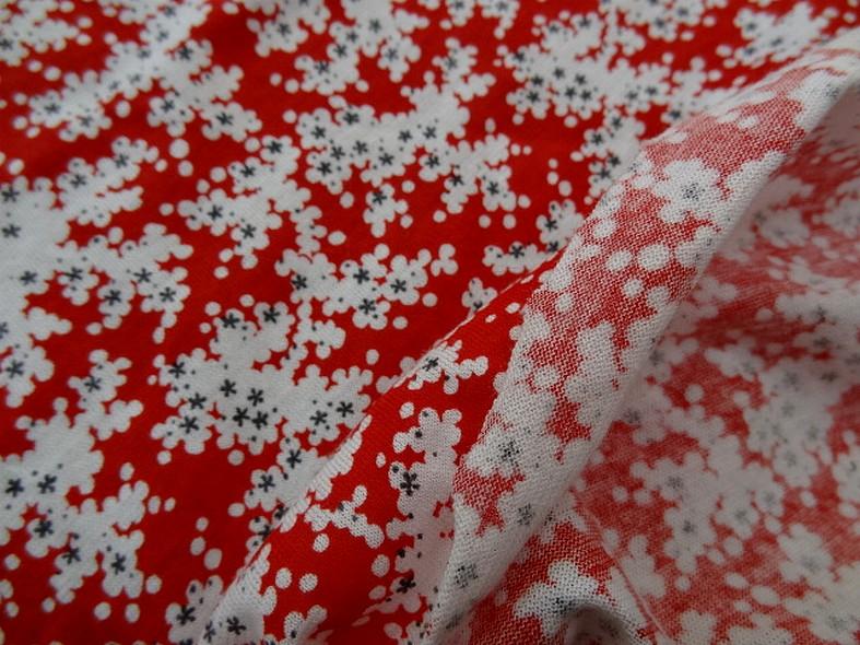 Jersey coton fin rouge fleurs blanc gris 2