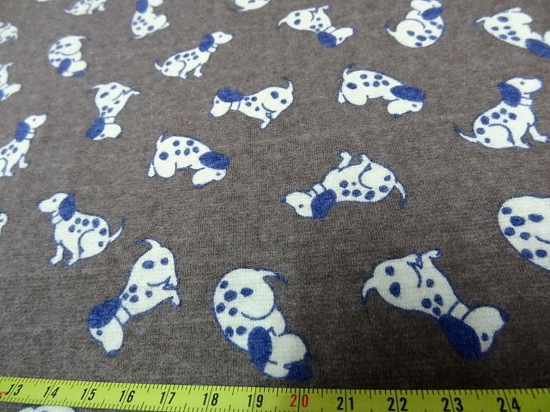 Jersey coton fond taupe chine motifs petits chiens 2