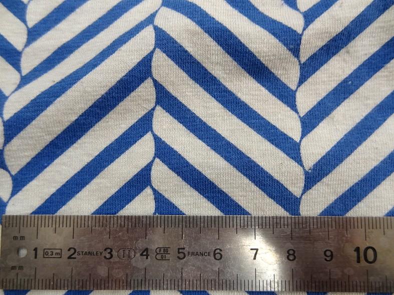 Jersey coton lycra blanc casse rayures fantaisie bleu denim 2