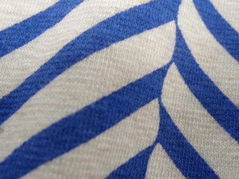Jersey coton lycra blanc casse rayures fantaisie bleu denim 3