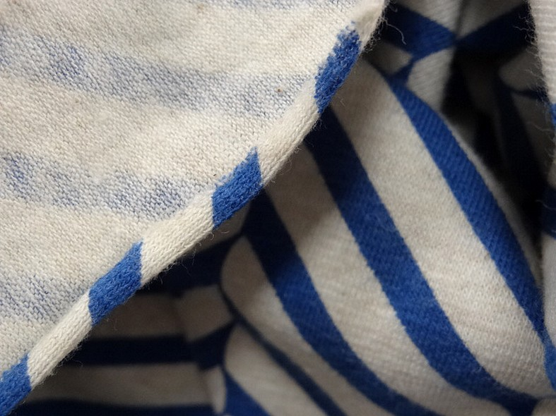 Jersey coton lycra blanc casse rayures fantaisie bleu denim 4