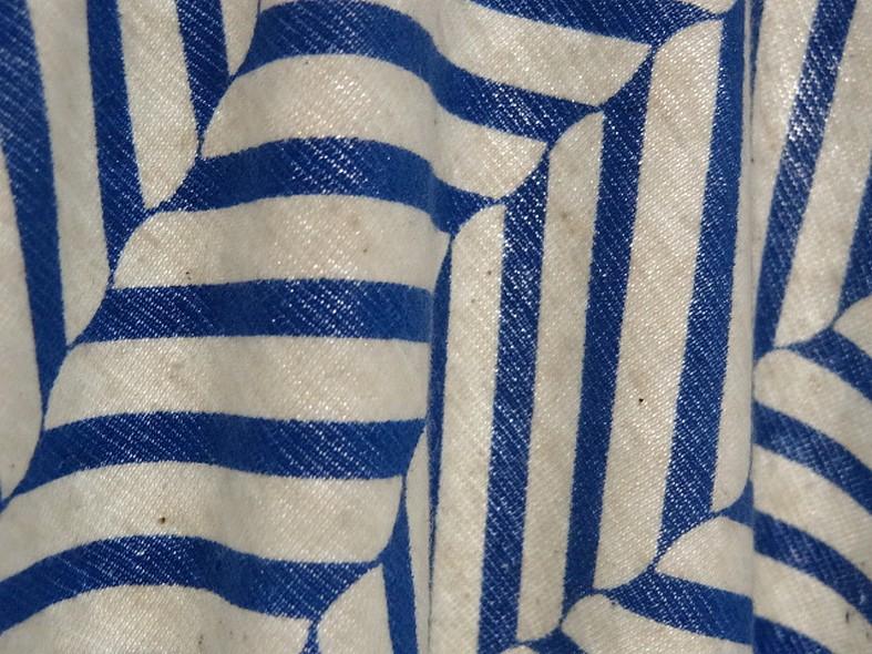Jersey coton lycra blanc casse rayures fantaisie bleu denim