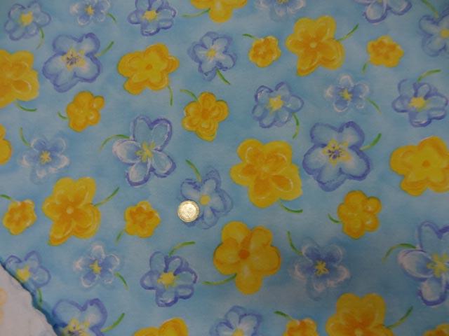 Jersey coton lycra bleu imprime fleurs3