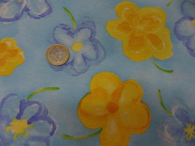 Jersey coton lycra bleu imprime fleurs8