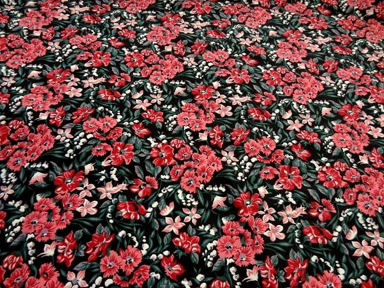 Jersey coton lycra fond noir fleuri 1