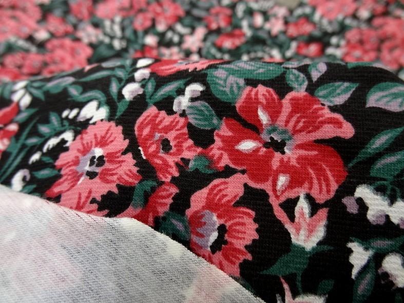 Jersey coton lycra fond noir fleuri 4