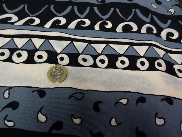 Jersey coton lycra frises grecques theme de l eau 2