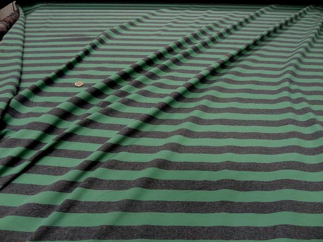 Jersey coton lycra gris raye vert