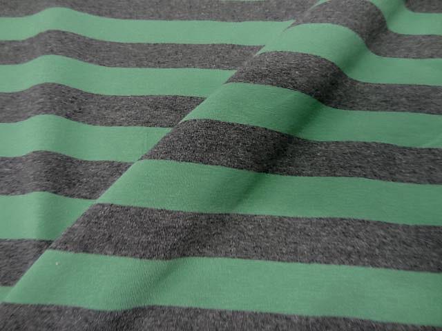 Jersey coton lycra gris raye vert3