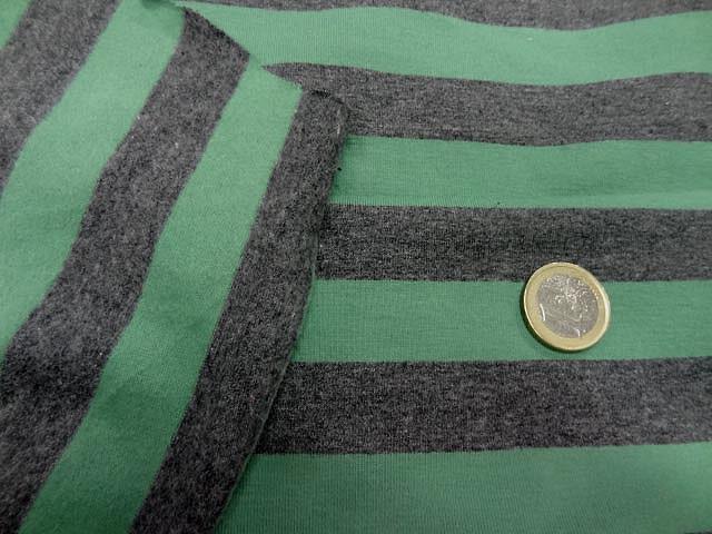 Jersey coton lycra gris raye vert8