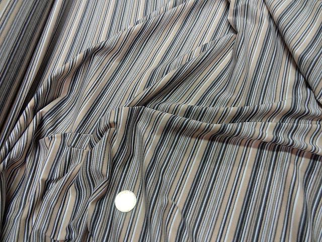 Jersey coton lycra raye beige gris