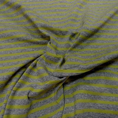 Jersey coton lycra raye gris chine anis 1