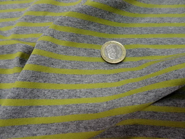 Jersey coton lycra raye gris chine anis 2
