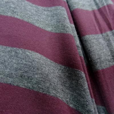 Jersey coton lycra rayures bagnard gris chine lie de vin 4