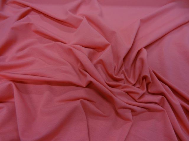 Jersey coton lycra rose saumon fonce