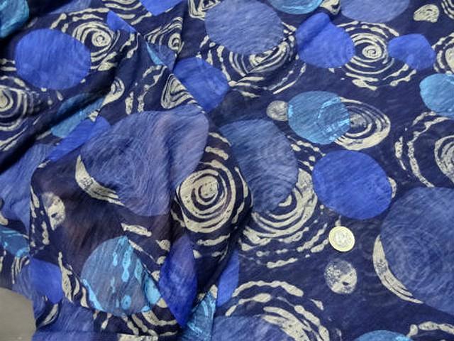 Jersey coton melange bleu motifs pois et spirale 2